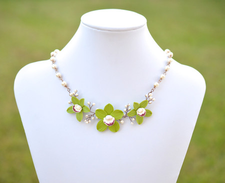 Angela Vine Necklace in Green Cymbidium Orchid