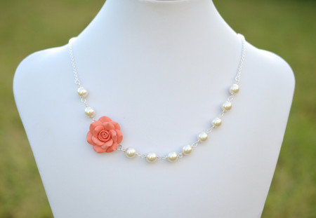 Alice Asymmetrical Necklace in Coral Orange Rose. FREE EARRINGS