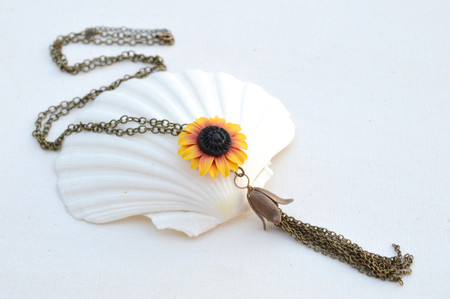 Long Tassel Necklace in Deep Red and Yellow Sunflower
