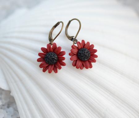 Red Garnet Sunflower Simple Drop Earrings