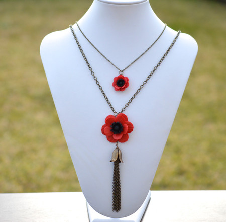 Simple Drop and Tassel Necklace in Red Anemone/Poppy. Set Of 2