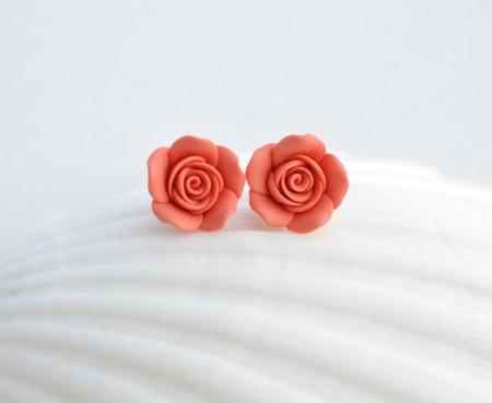 Coral Orange  Rose Stud Earrings