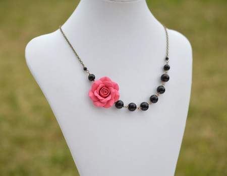 Jenna Asymmetrical Necklace in Paradise Pink Rose with Black Beads. FREE EARRINGS