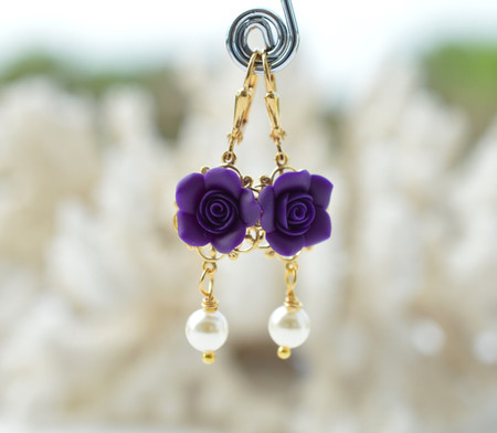 Tamara Statement Earrings in Deep Purple Rose