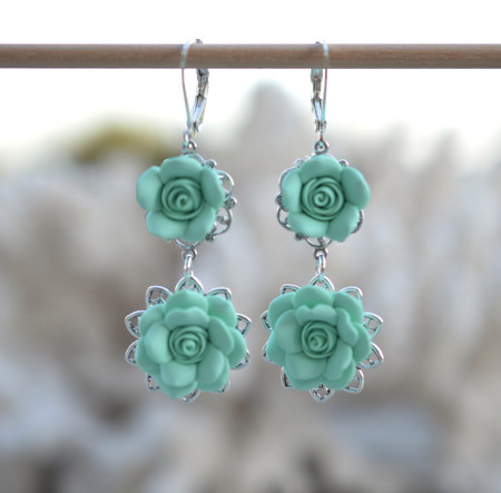 Mardy Double Roses Statement Earrings in Mint Green.