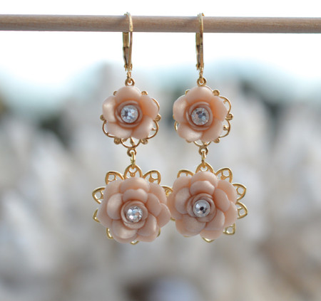 Bianca Double Roses Statement Earrings in Nude/Beige Rose with Crystals