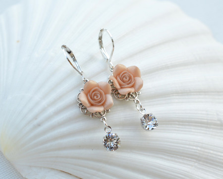 Tamara Rose Statement Earrings in Nude/Beige Rose with Crystals