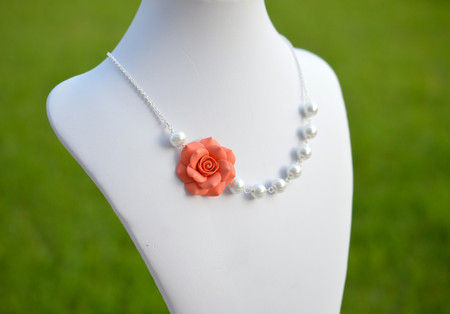 Elisa Asymmetrical Necklace in Coral Orange Rose. FREE EARRINGS