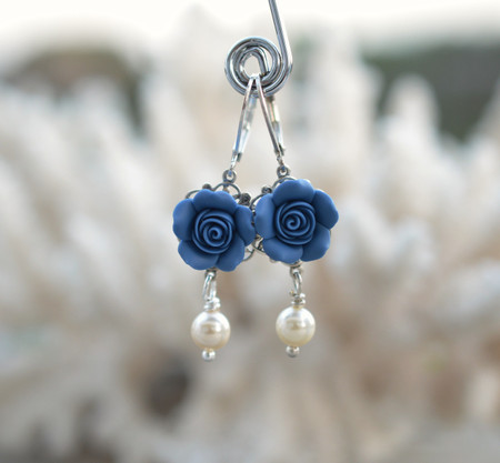 Tamara Statement Earrings in Sailor Blue