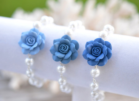Aaliyah Link bracelet in Claudy Blue, Dusty Blue, Sailor Blue Rose.