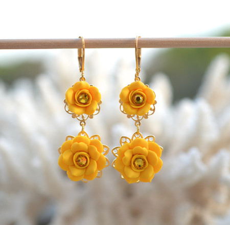 Bianca Double Roses Statement Earrings in Golden Yellow Rose with Yellow Crystals