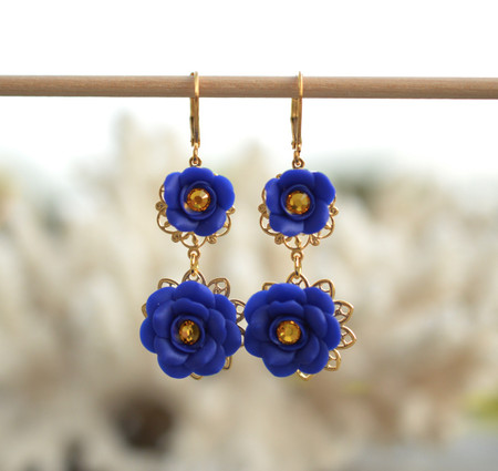 Bianca Double Roses Statement Earrings in Cobalt Blue with Yellow Crystal Center.