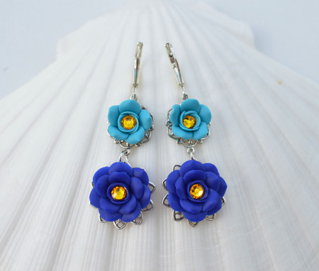 Bianca Double Roses Statement Earrings in Turquoise and Cobalt Blue