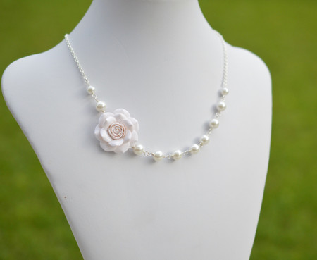 Donna Asymmetrical Necklace in White Rose. FREE EARRINGS