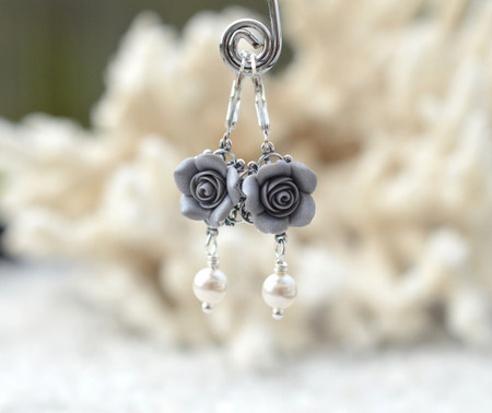 Tamara Statement Earrings in Silver Gray Rose