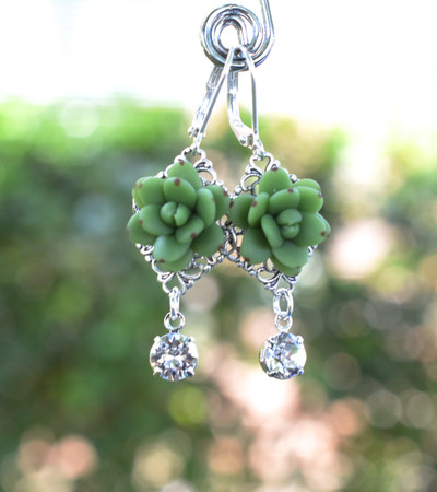Beatrice Statement Earrings in Green Succulent With Crystals