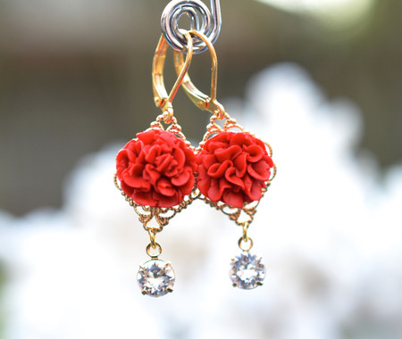 Beatrice Statement Earrings in Red Carnation With Crystals