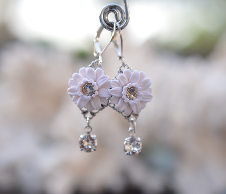 Annamarie Rose Statement Earrings in White Gerbera with Swarovski Crystals
