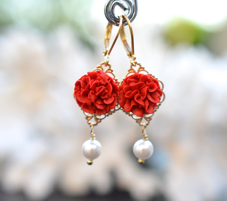 Richelle Statement Earrings in Red Carnation
