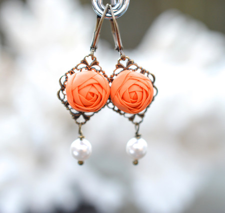 Richelle Statement Earrings in Orange Ranunculus