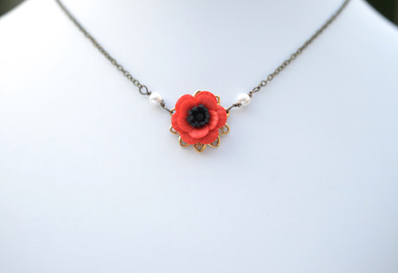 Bradley Delicate Drop Necklace in Red Poppy/Anemone