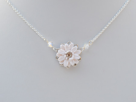 Bradley Bridal Delicate Drop Necklace in White Gerbera with Crystals