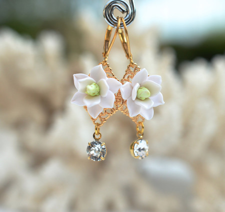 Beatrice Statement Earrings in White Magnolia With Crystals