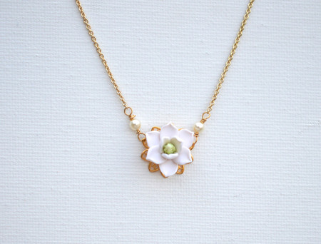 Bradley Delicate Drop Necklace in White Magnolia