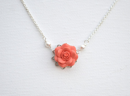Bradley Delicate Drop Necklace in Coral Orange Rose