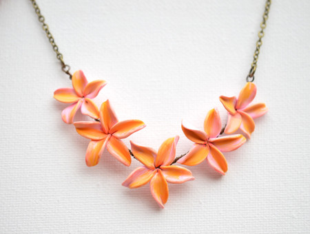 Leela Plumeria Centered Necklace in Pink and Yellow