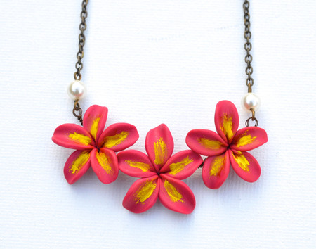Trio Plumeria/Frangipani Centered Necklace in Deep Pink and Yellow