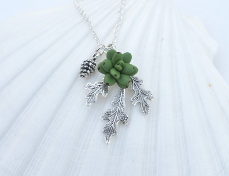 Oak Leaf Pinecone and Succulent Simple Drop Necklace