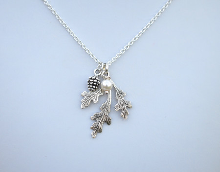Oak Leaf and Pinecone Simple Drop Necklace