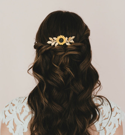 Kimberly Bridal Hair Comb in Yellow Sunflower and Metal Leave Branch