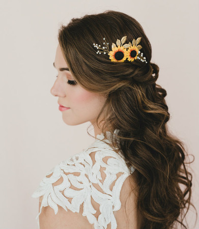 Aiden Bridal Hair Comb in Red Yellow Sunflower and Metal Leaves