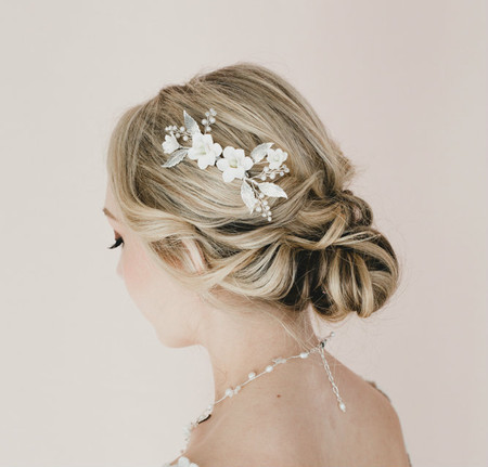 Claudia Bridal Hair Comb in White Magnolia with Brass Leaves