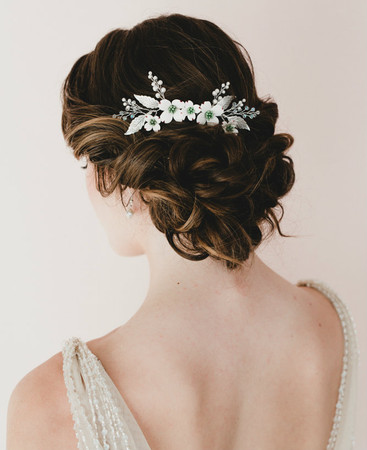 Heather Bridal Hair Comb in White Dogwoods with Metal Leaves.