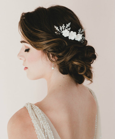 Sara Bridal Hair Comb in Trio White Cherry Blossom/Sakura and Oak Leaf Branch