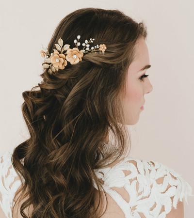 Margareth  Bridal Hair Comb in Gold Large Sakura /Cherry Blossom