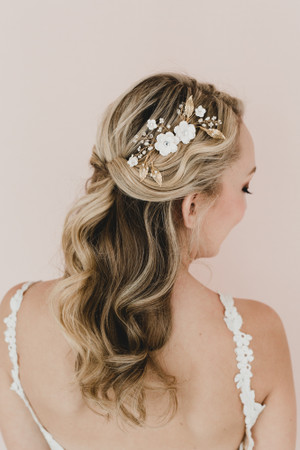 Adelle Bridal Hair Comb in White Large Sakura /Cherry Blossom and Metal Leaves