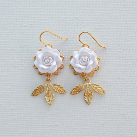 Kate Statement Earrings in White Rose and Leaves
