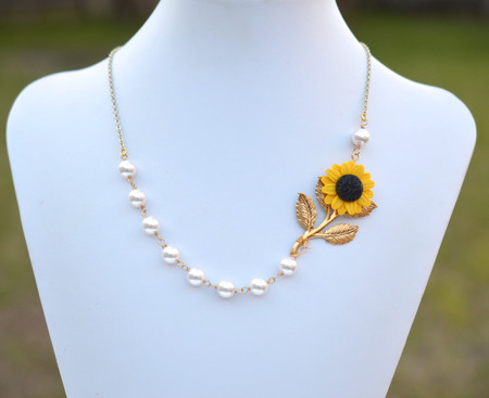 Amira Asymmetrical Necklace in Golden Yellow Sunflower and Metal Branch. FREE EARRINGS