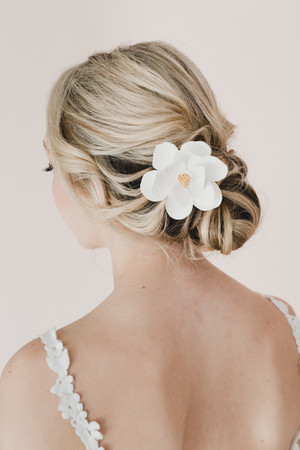 White Magnolia Hair Clip. Magnolia Hair Accessories.