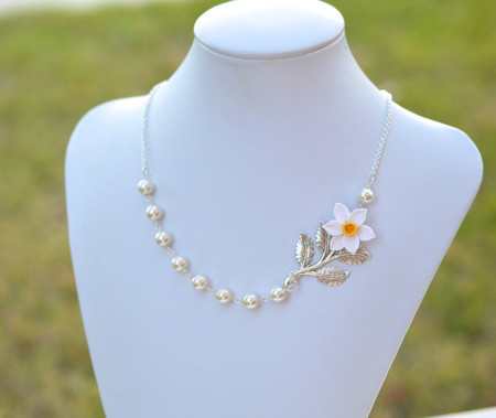 Amira Asymmetrical Necklace in White and Yellow Daffodil and Metal Branch. FREE EARRINGS