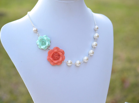 Celine Double Roses Asymmetrical Necklace in Light Mint and Coral. FREE EARRINGS