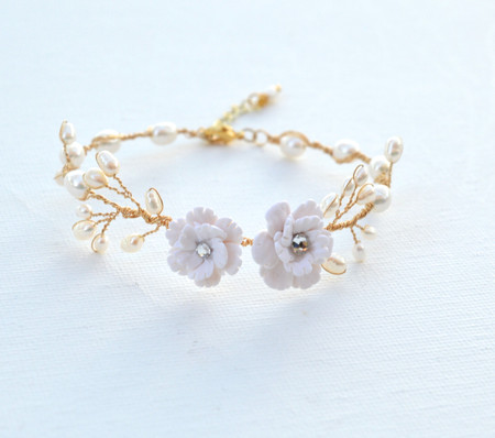 Kelly Vine Bracelet in White Cherry Blossom