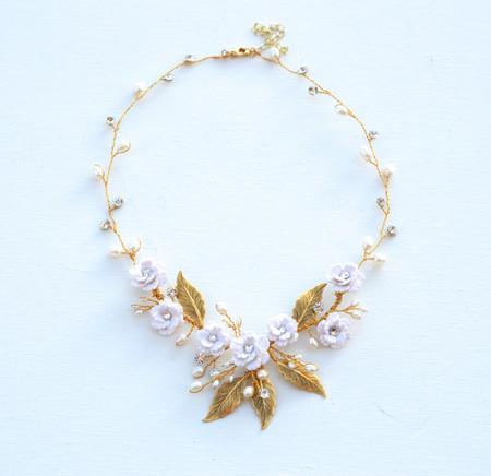 Kay Bridal Vine Necklace in White Cherry Blossom