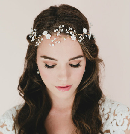 Safira Cherry Blossom and Baby Breath Bridal Hair Vine