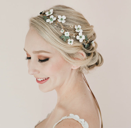 Stacy Bridal Hair Vine in White Dogwood and Green Leaves