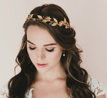 Aisya Star Flowers and Leaves in Gold Hair Vines